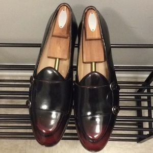 Men's Monk Wine Red Black Loafers